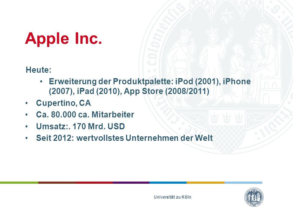 Apple Inc. Heute: Erweiterung der Produktpalette: iPod (2001), iPhone (2007), iPad (2010), App Store (2008/2011)