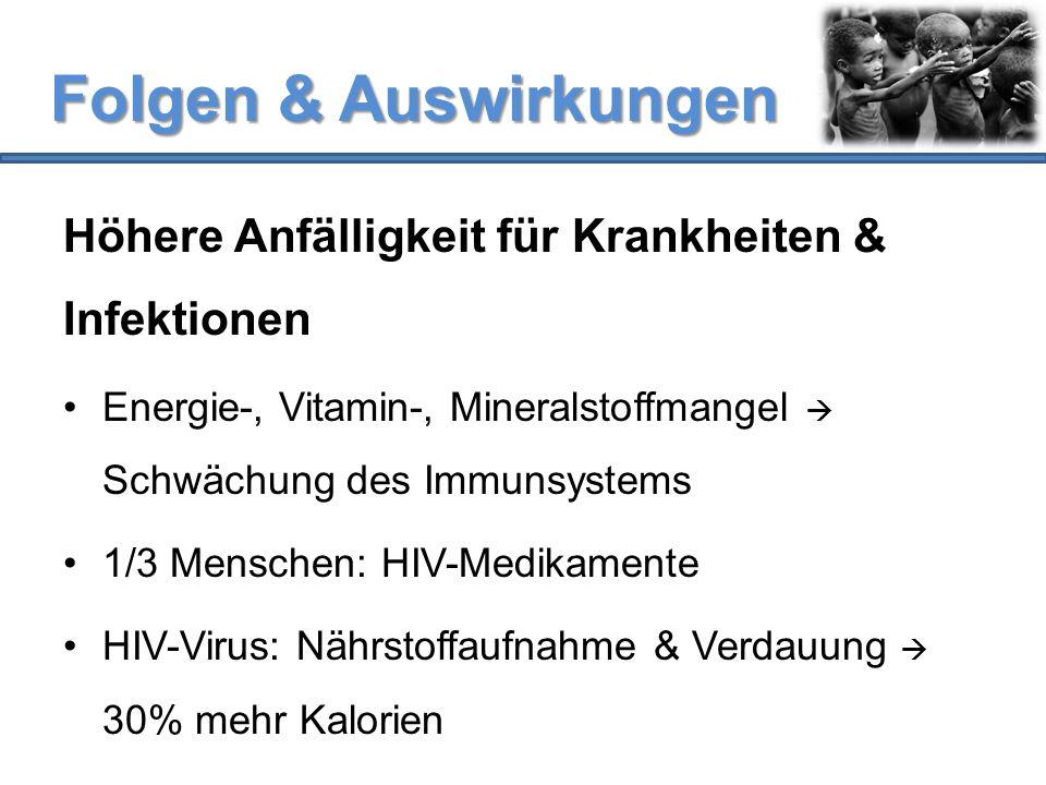 Folgen & Auswirkungen Höhere Anfälligkeit für Krankheiten & Infektionen. Energie-, Vitamin-, Mineralstoffmangel  Schwächung des Immunsystems.