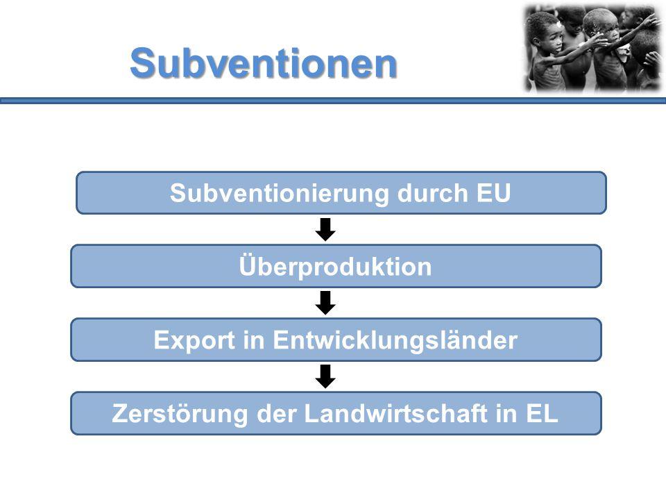 Subventionen Subventionierung durch EU Überproduktion