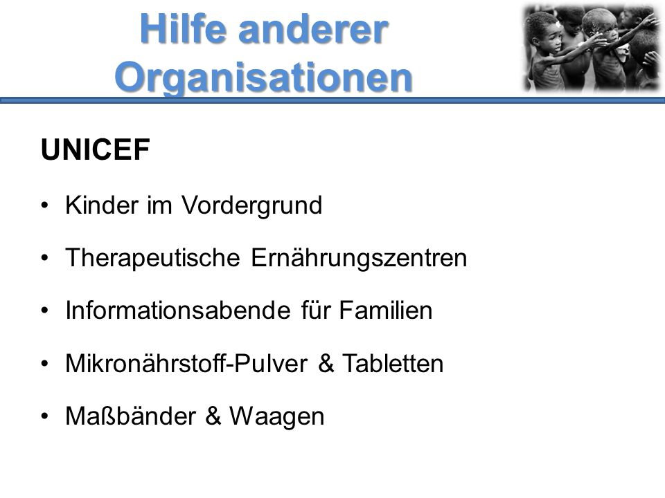Hilfe anderer Organisationen