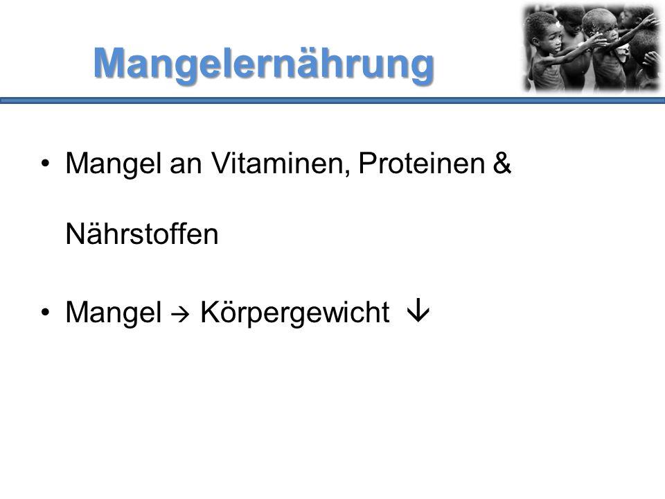 Mangelernährung Mangel an Vitaminen, Proteinen & Nährstoffen