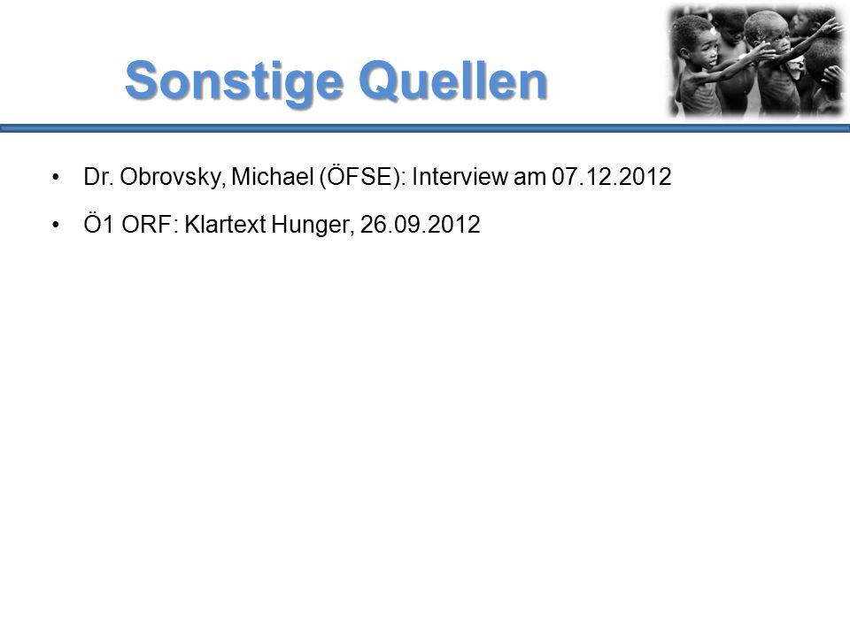 Sonstige Quellen Dr. Obrovsky, Michael (ÖFSE): Interview am 07.12.2012