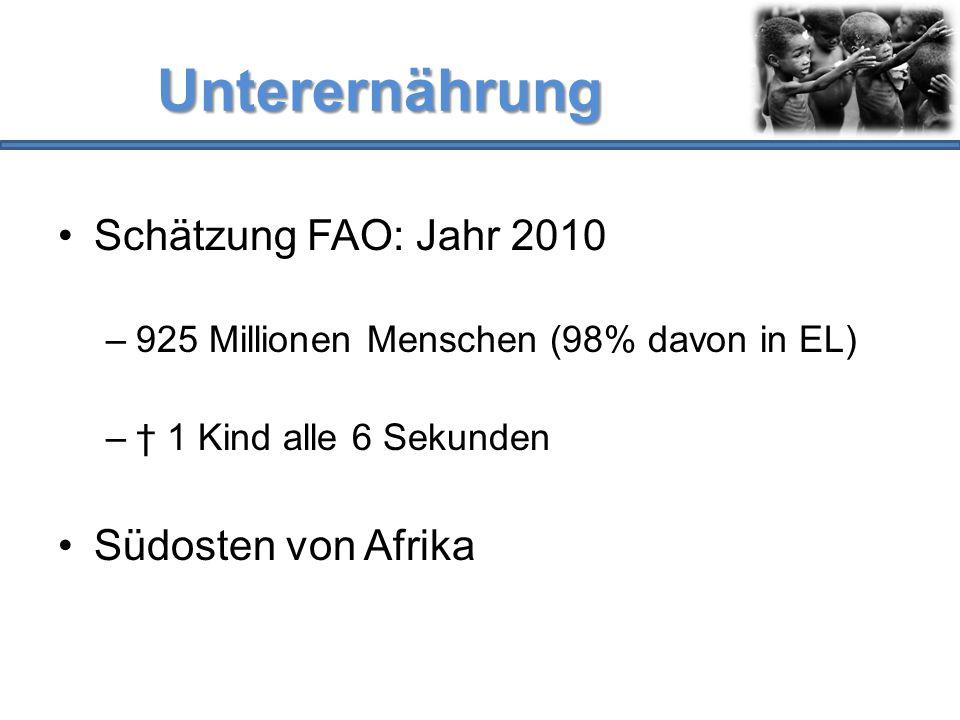 Unterernährung Schätzung FAO: Jahr 2010 Südosten von Afrika