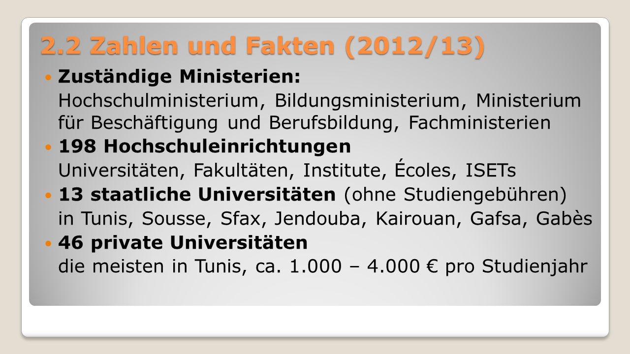 2.2 Zahlen und Fakten (2012/13) Zuständige Ministerien: