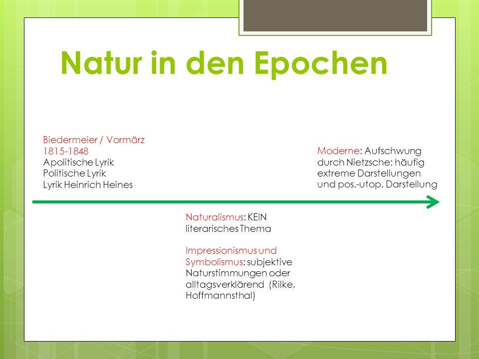 Natur in den Epochen Biedermeier / Vormärz 1815-1848 Apolitische Lyrik