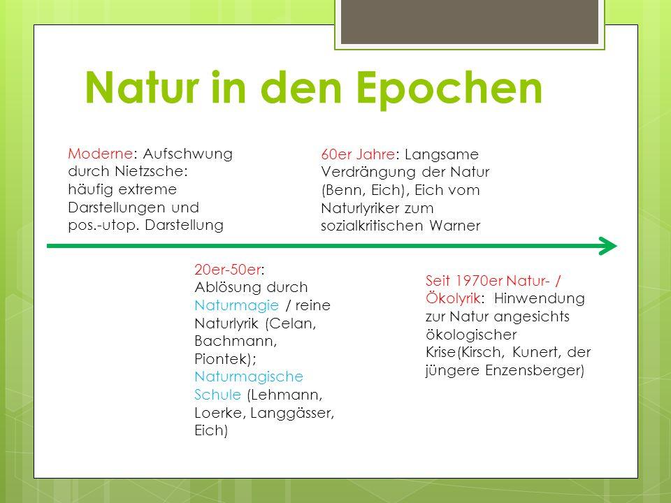Natur in den Epochen Moderne: Aufschwung durch Nietzsche: häufig extreme Darstellungen und pos.-utop. Darstellung.