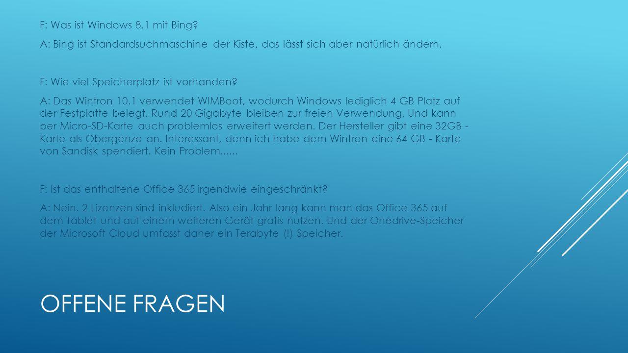 Offene Fragen F: Was ist Windows 8.1 mit Bing
