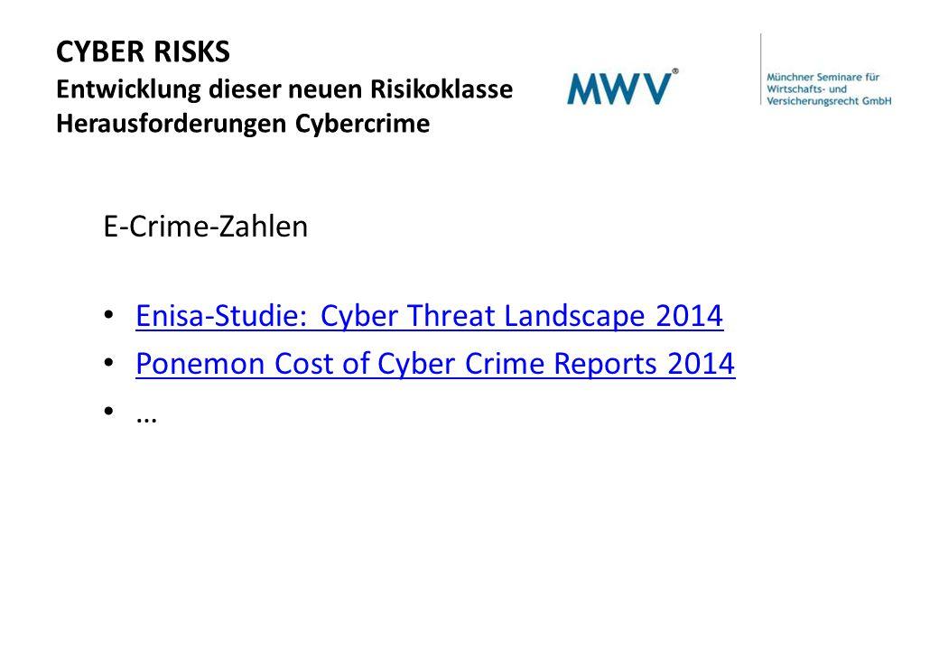CYBER RISKS Entwicklung dieser neuen Risikoklasse