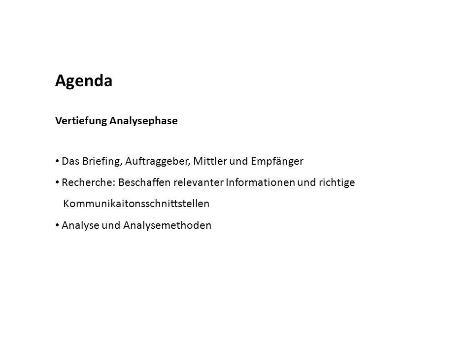 Agenda Vertiefung Analysephase