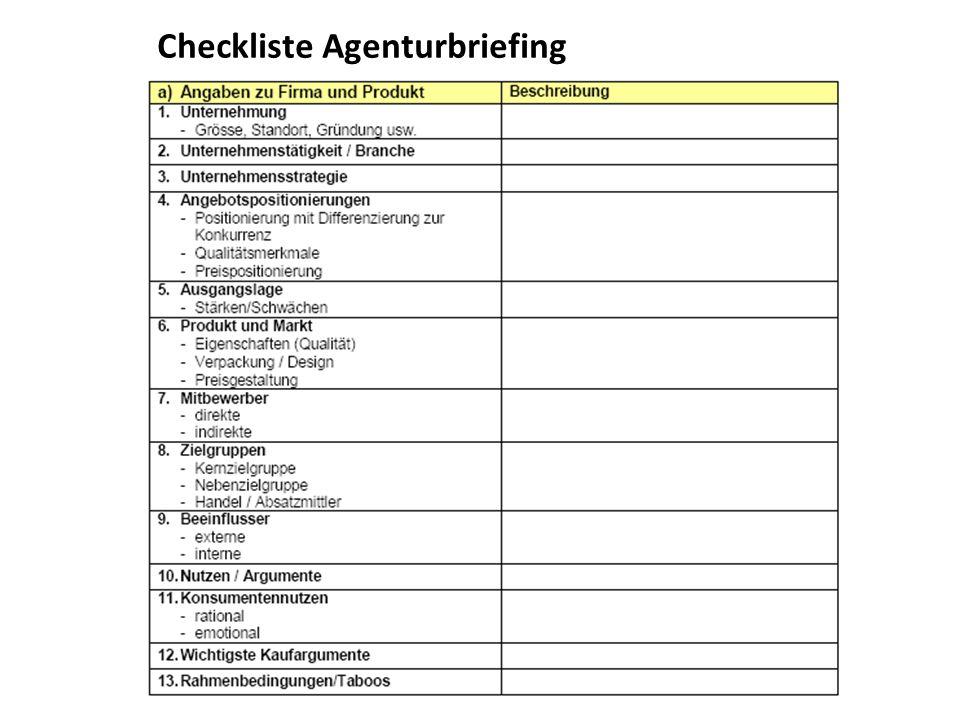 Checkliste Agenturbriefing
