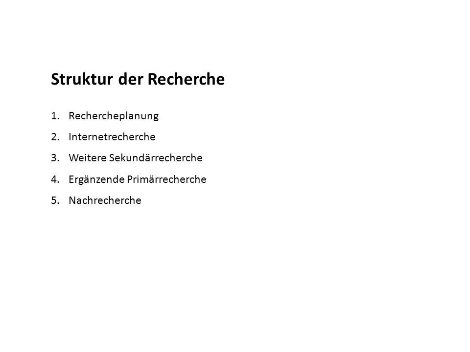 Struktur der Recherche