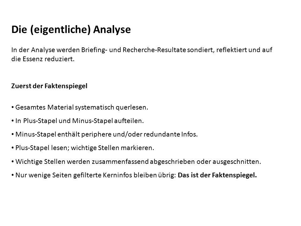 Die (eigentliche) Analyse
