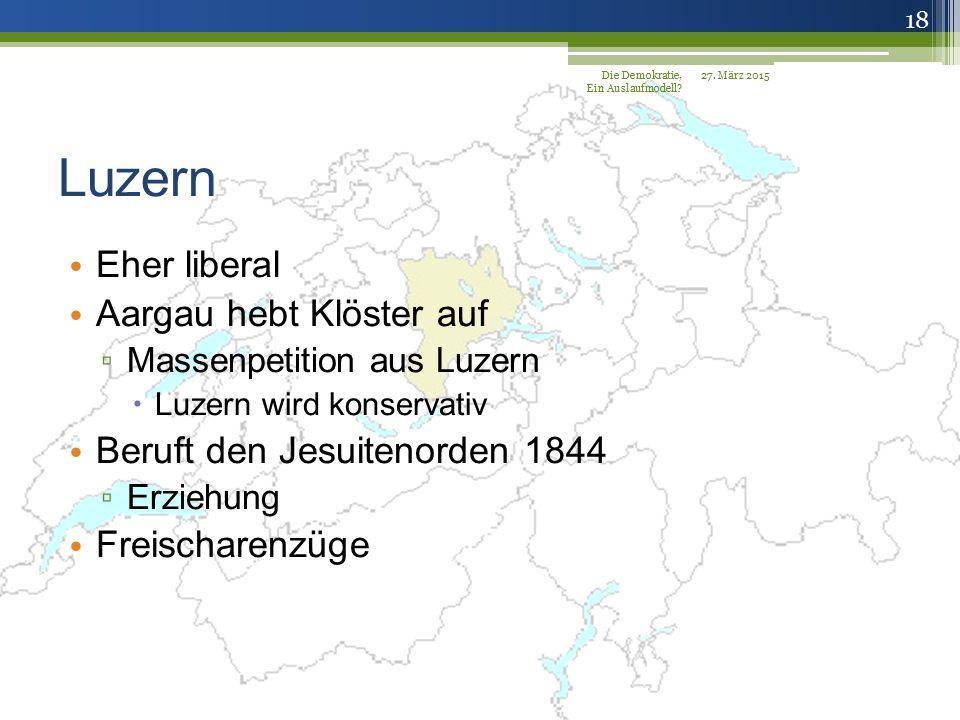 Luzern Eher liberal Aargau hebt Klöster auf
