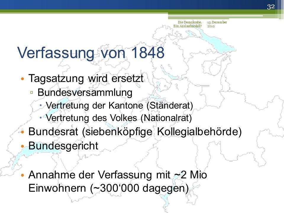 Verfassung von 1848 Tagsatzung wird ersetzt