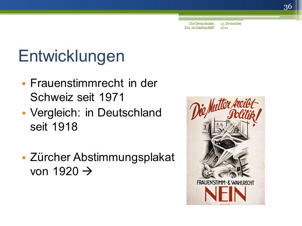 Entwicklungen Frauenstimmrecht in der Schweiz seit 1971