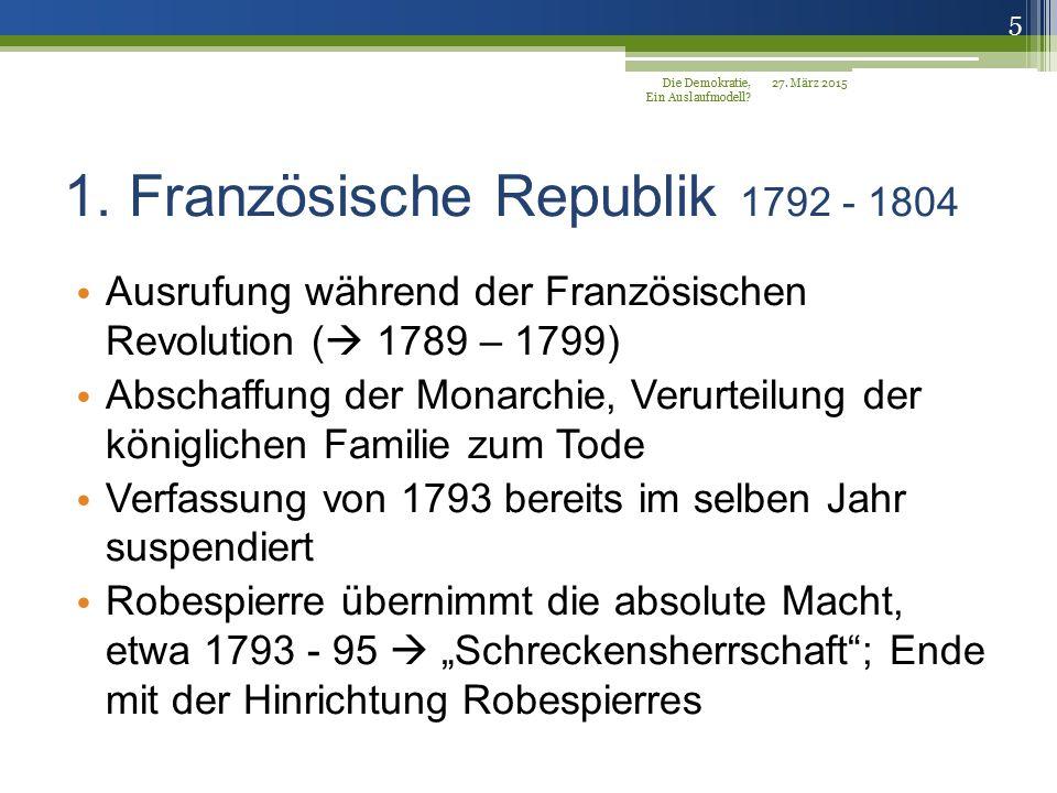 1. Französische Republik 1792 - 1804