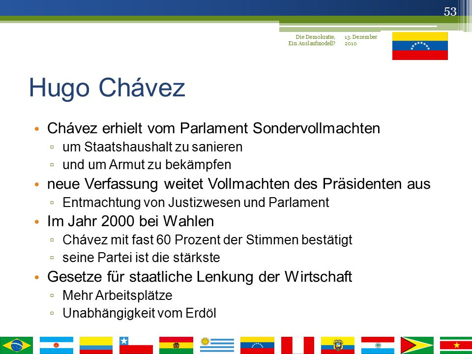 Hugo Chávez Chávez erhielt vom Parlament Sondervollmachten