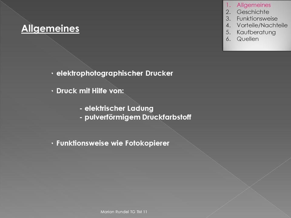 Allgemeines ۰ elektrophotographischer Drucker ۰ Druck mit Hilfe von: