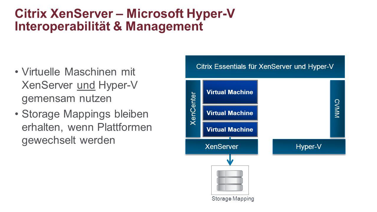 Citrix XenServer – Microsoft Hyper-V Interoperabilität & Management