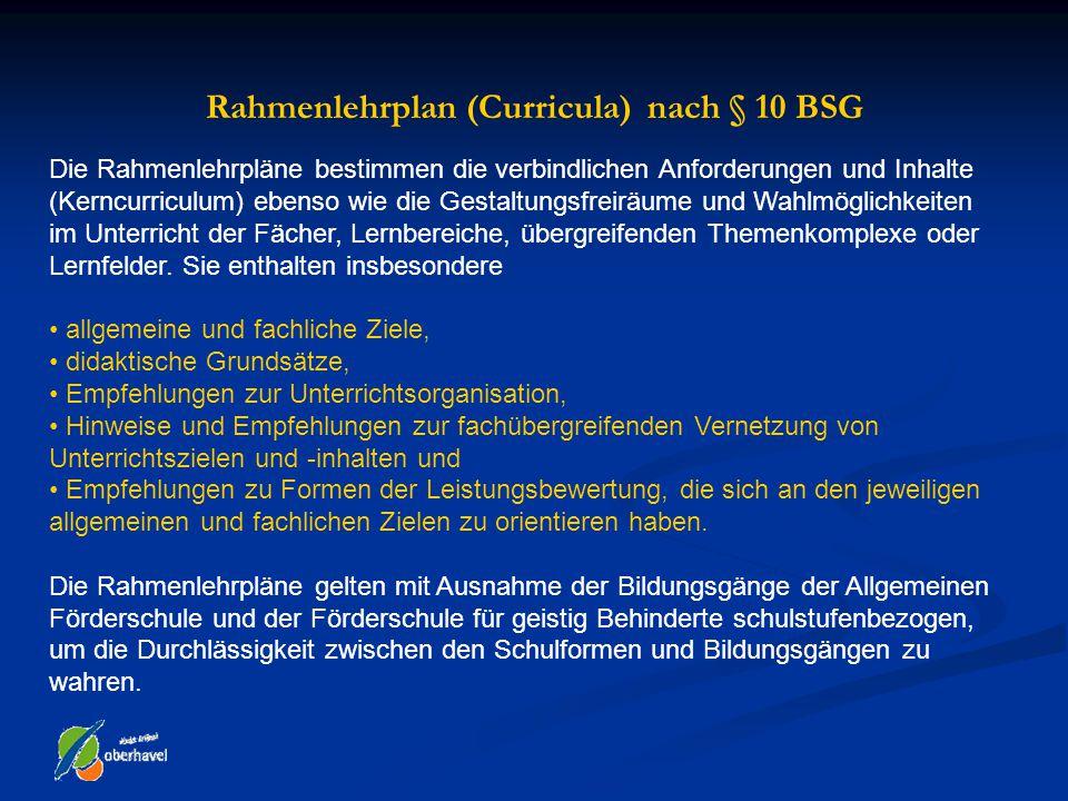 Rahmenlehrplan (Curricula) nach § 10 BSG