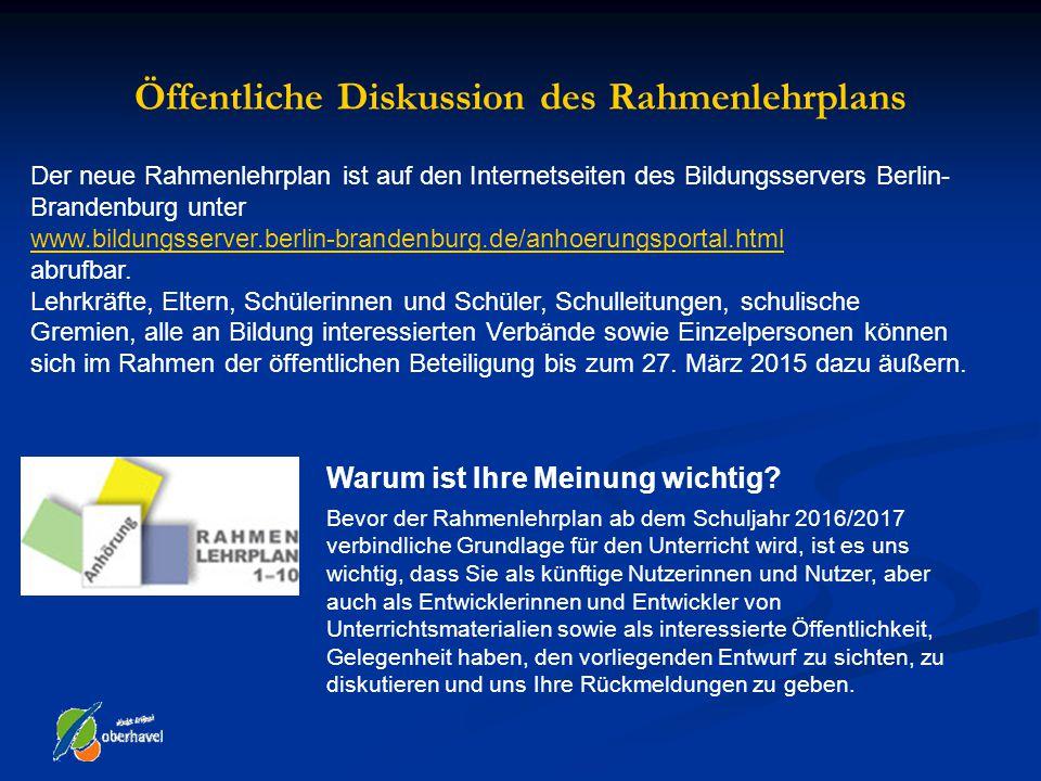 Öffentliche Diskussion des Rahmenlehrplans