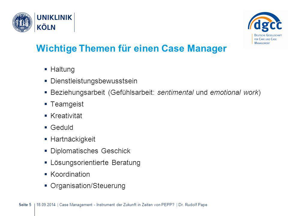 Wichtige Themen für einen Case Manager