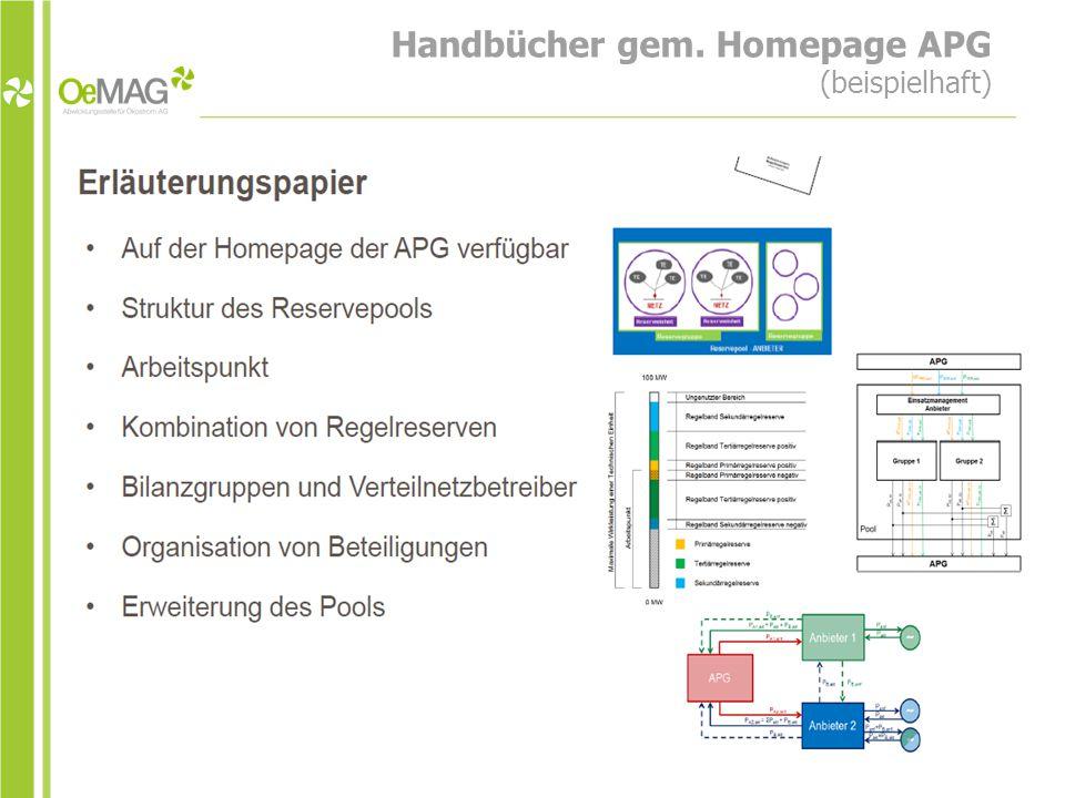 Handbücher gem. Homepage APG (beispielhaft)