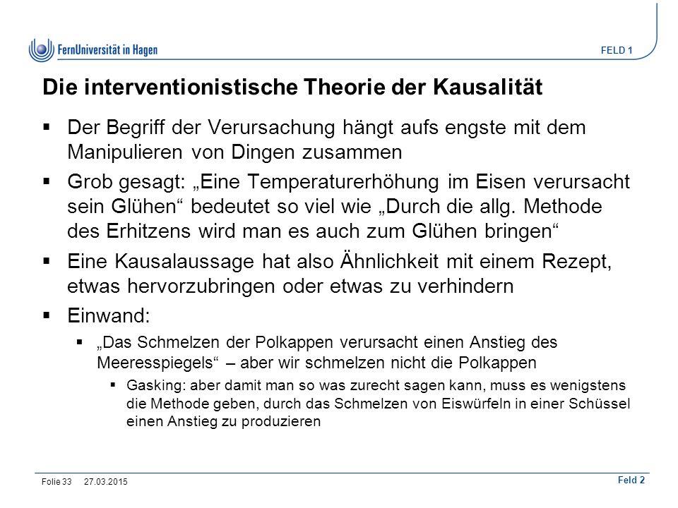 Die interventionistische Theorie der Kausalität