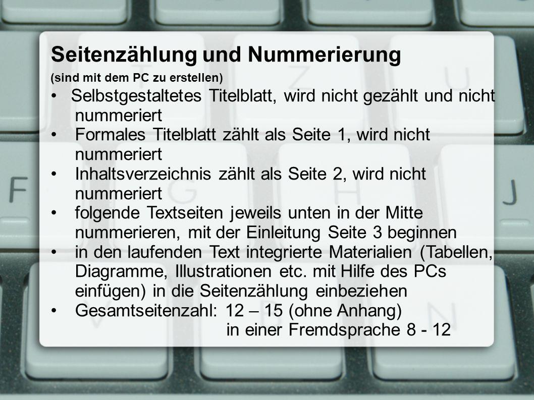Seitenzählung und Nummerierung