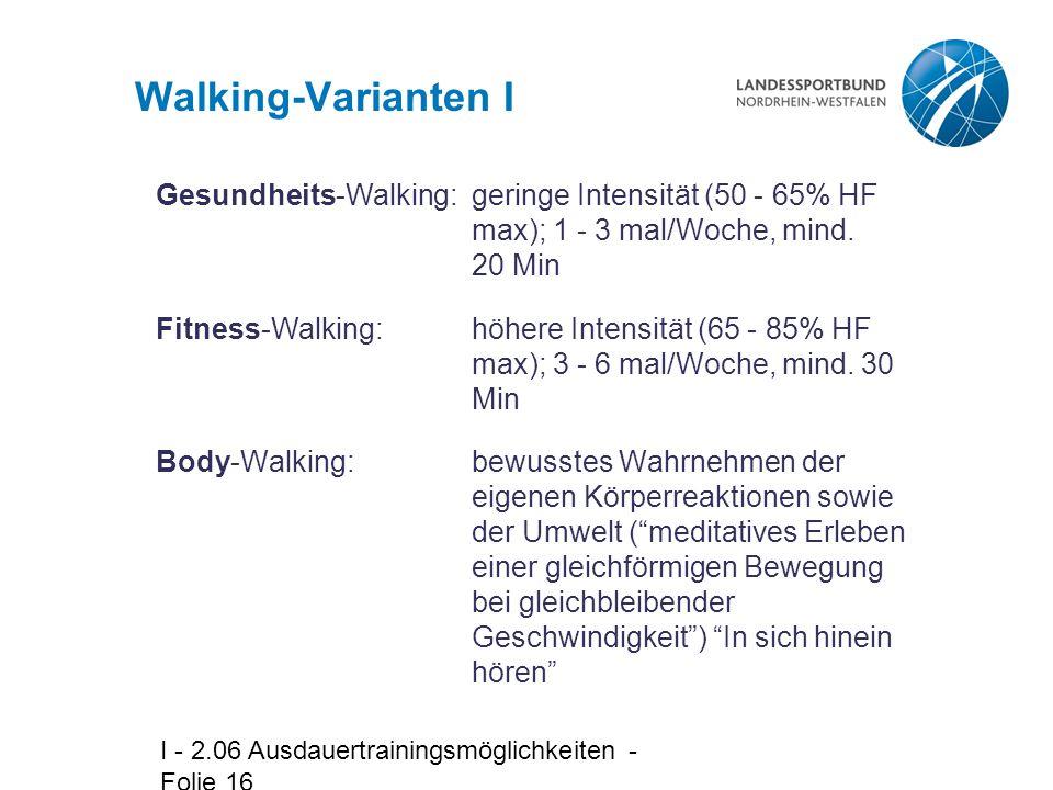 Walking-Varianten I Gesundheits-Walking: geringe Intensität (50 - 65% HF max); 1 - 3 mal/Woche, mind. 20 Min.