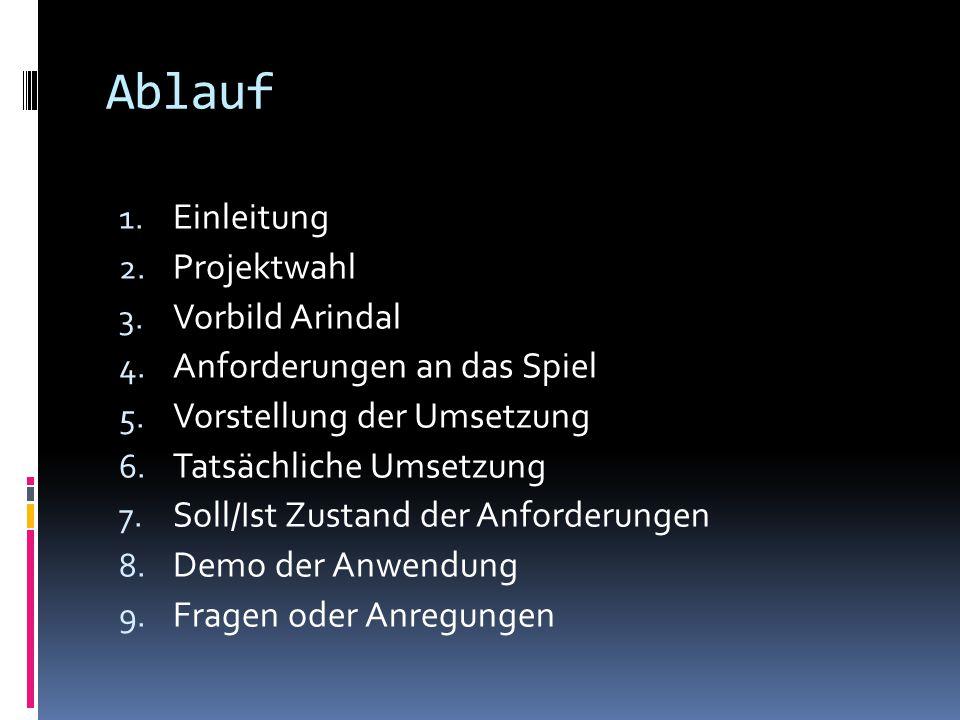 Ablauf Einleitung Projektwahl Vorbild Arindal