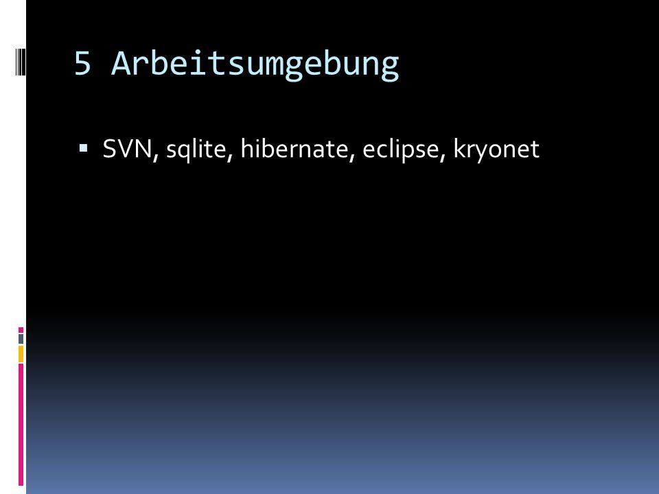 5 Arbeitsumgebung SVN, sqlite, hibernate, eclipse, kryonet