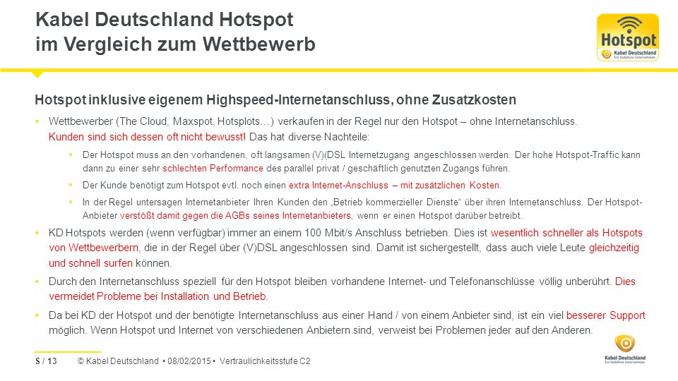 Kabel Deutschland Hotspot im Vergleich zum Wettbewerb