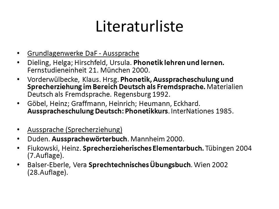 Literaturliste Grundlagenwerke DaF - Aussprache