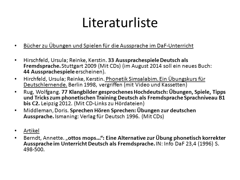 Literaturliste Bücher zu Übungen und Spielen für die Aussprache im DaF-Unterricht.