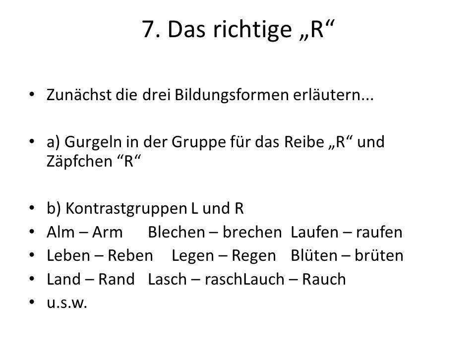 """7. Das richtige """"R Zunächst die drei Bildungsformen erläutern..."""