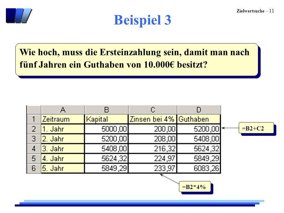 Beispiel 3 Wie hoch, muss die Ersteinzahlung sein, damit man nach fünf Jahren ein Guthaben von 10.000€ besitzt