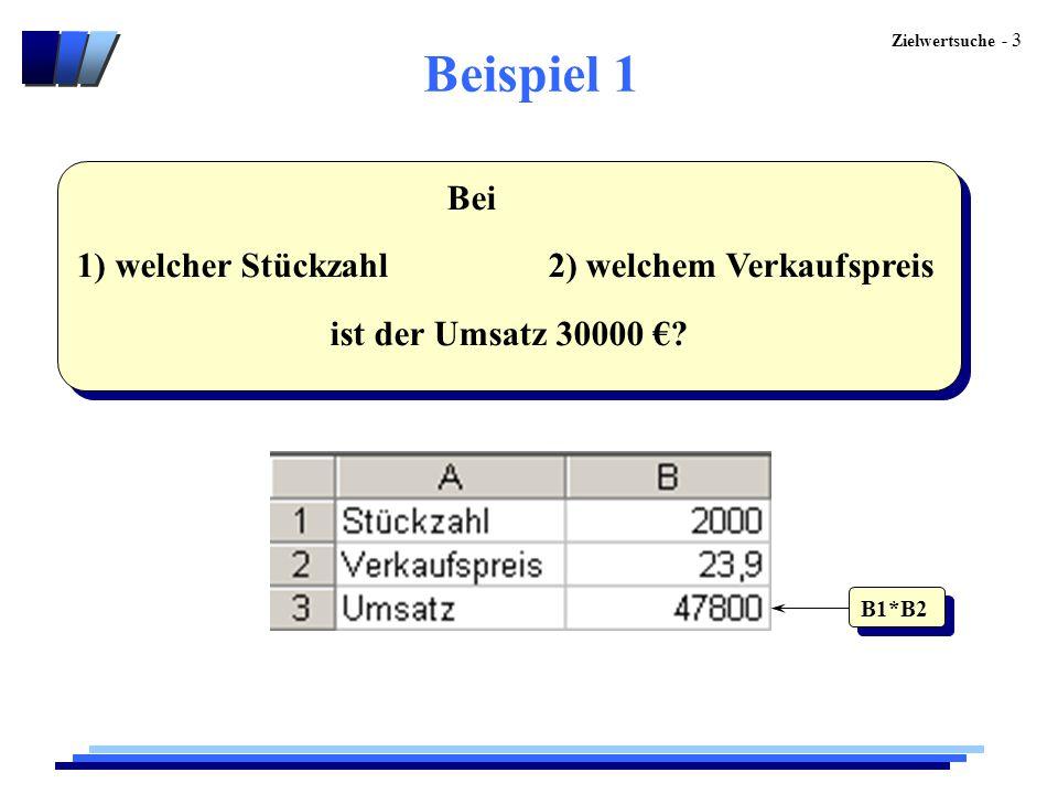 Beispiel 1 Bei 1) welcher Stückzahl 2) welchem Verkaufspreis
