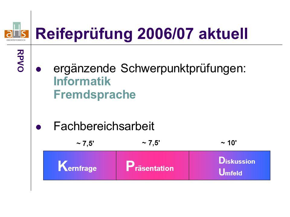 Reifeprüfung 2006/07 aktuell
