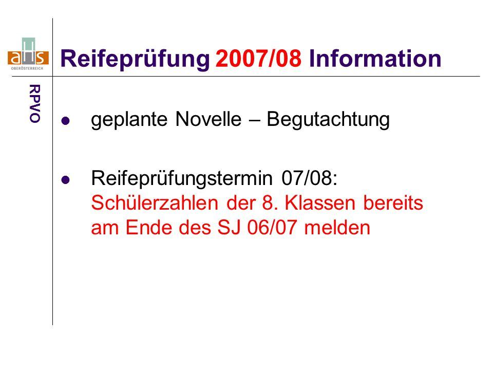 Reifeprüfung 2007/08 Information