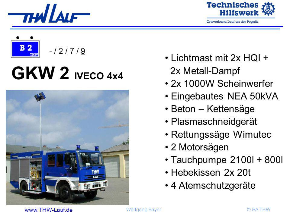 GKW 2 IVECO 4x4 Lichtmast mit 2x HQI + 2x Metall-Dampf