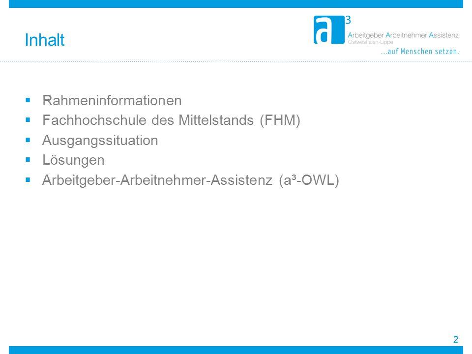 Inhalt Rahmeninformationen Fachhochschule des Mittelstands (FHM)