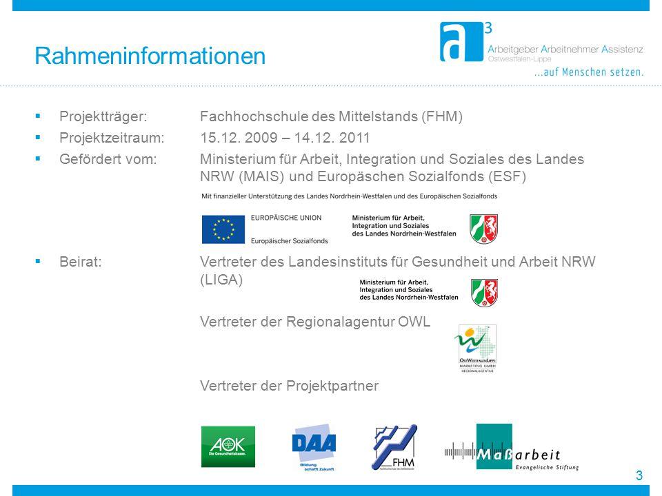 Rahmeninformationen Projektträger: Fachhochschule des Mittelstands (FHM) Projektzeitraum: 15.12. 2009 – 14.12. 2011.