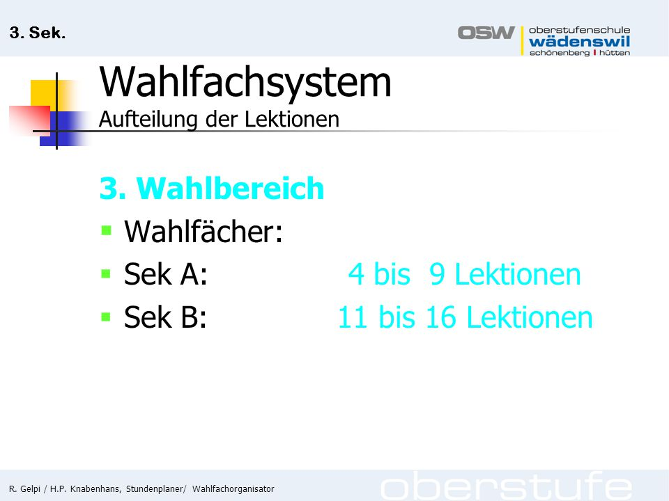 Wahlfachsystem Aufteilung der Lektionen