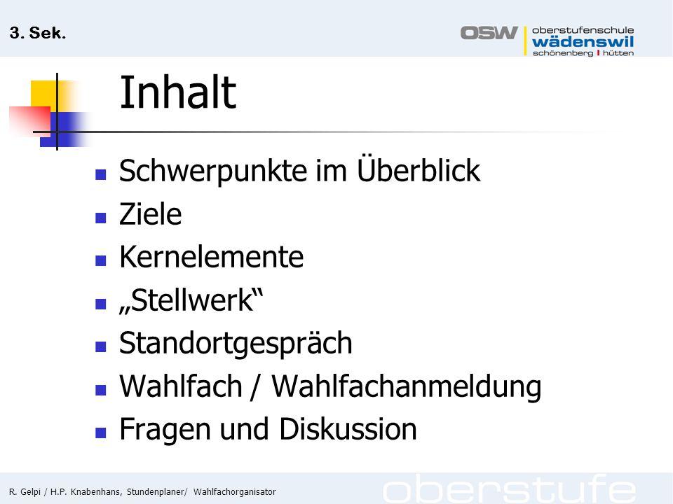 """Inhalt Schwerpunkte im Überblick Ziele Kernelemente """"Stellwerk"""
