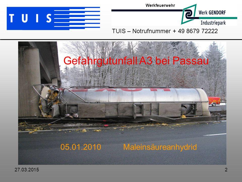 Gefahrgutunfall A3 bei Passau