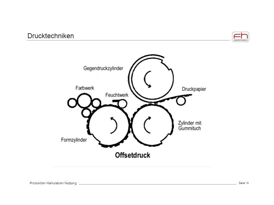 Drucktechniken Produktion / Kalkulation / Nutzung Seite 14