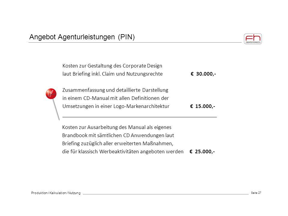 Angebot Agenturleistungen (PIN)