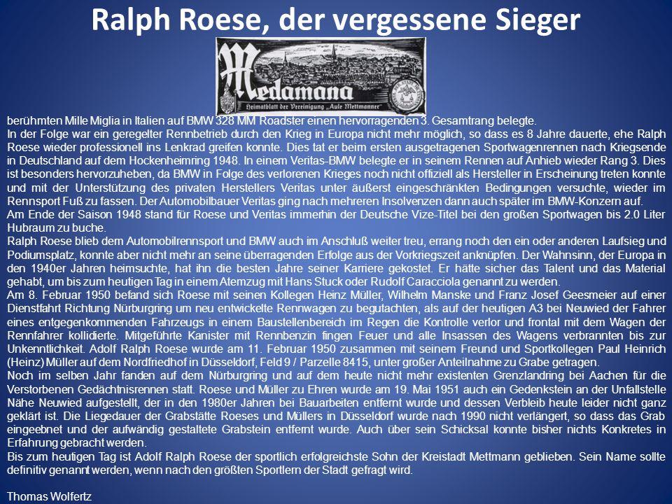 Ralph Roese, der vergessene Sieger