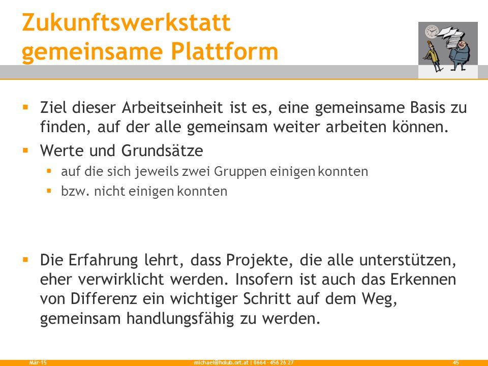 Zukunftswerkstatt gemeinsame Plattform